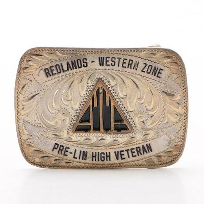 Cust-M-Bilt Sterling Face Redlands Western Zone Belt Buckle, Mid-20th Century