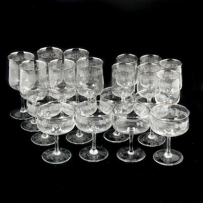 "Lenox ""White Echo"" Etched Crystal Stemware, Mid to Late 20th Century"