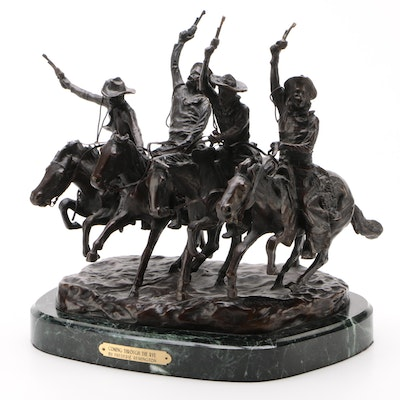 """Reproduction Frederic Remington """"Coming Through The Rye"""" Bronze Sculpture"""