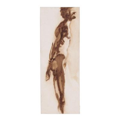 John Tuska Ink and Watercolor Figure Study of Standing Male Nude