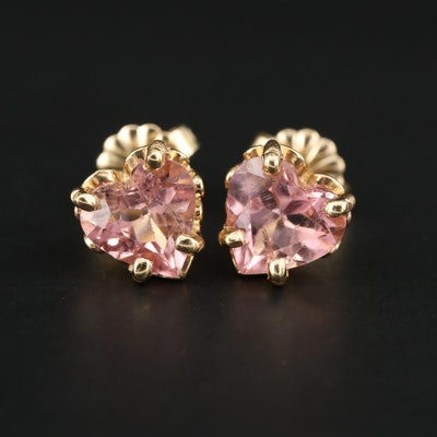 14K Yellow Gold Pink Tourmaline Heart Stud Earrings