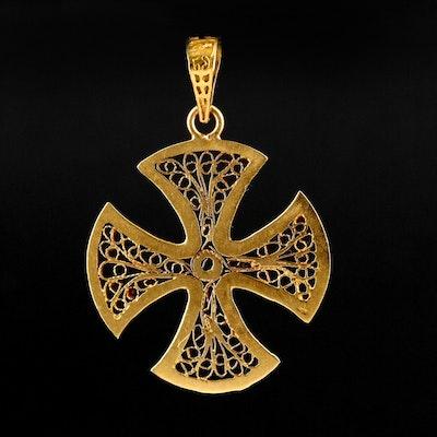 Eqyptian 18K Yellow Gold Filigree Maltese Cross Pendant