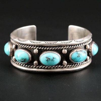 Southwestern Style Sterling Silver with Stampwork and Turquoise Cuff Bracelet