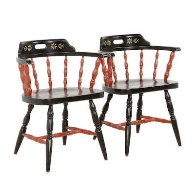 Pair of Ebonized, Red-Painted, and Gilt-Stenciled Firehouse Windsor Armchairs