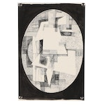 """John Tuska Abstract Ink Drawing """"Arrangement in an Oval"""""""