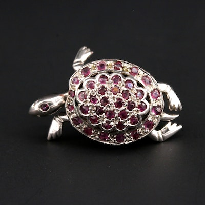 Sterling Silver Ruby Articulated Turtle Converter Brooch