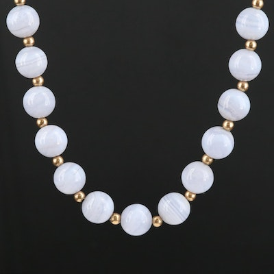 14K Yellow Gold and Blue Lace Agate Beaded Endless Necklace