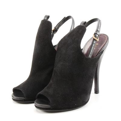 Gucci Black Suede Open-Toe High Heel Jane Booties