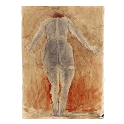 John Tuska Mixed Media Figure Drawing