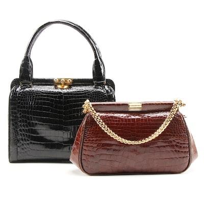 Crocodile Skin Handbags, Mid-20th Century