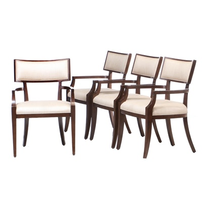 Four Lexington Arm Chairs in Walnut Finish, Contemporary