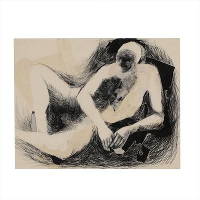 John Tuska Mixed Media Abstract Figure Drawing