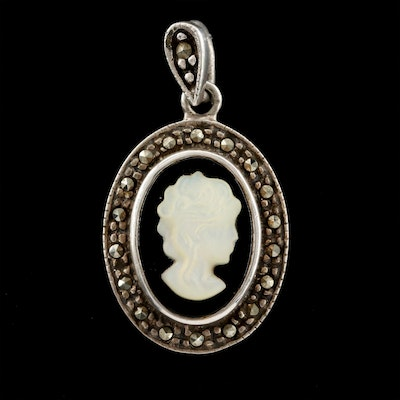 Sterling Assembled Mother of Pearl and Black Onyx Cameo with Marcasite Pendant