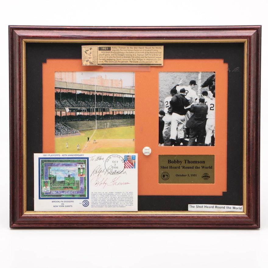 "1951 Bobby Thomson ""Shot Heard Around the World"" Signed Baseball Display"