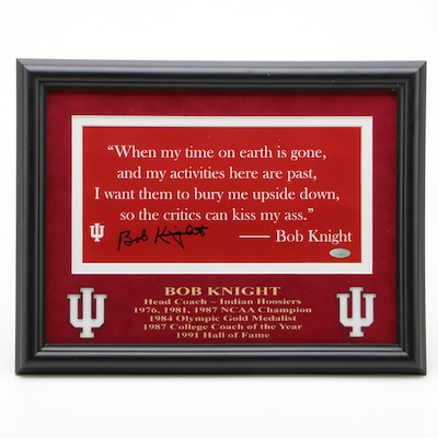 Bobby Knight Signed Indiana University NCAA Basketball Quote Display, COA