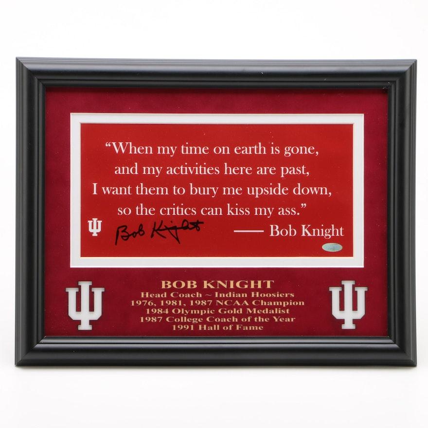 Bobby Knight Signed Indiana University NCAA Basketball Quote Display, COA