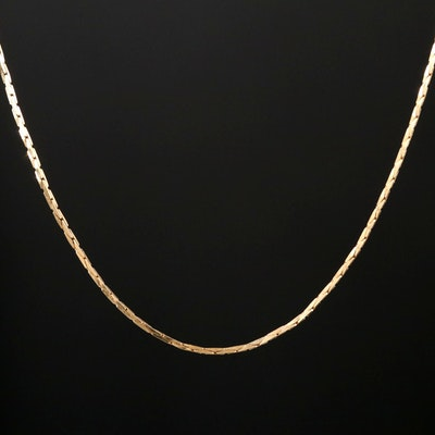 14K Yellow Gold Cobra Chain Link necklace