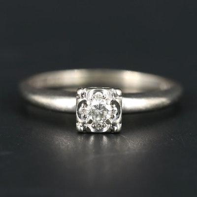 Vintage 14K White Gold 0.12 CT Diamond Ring