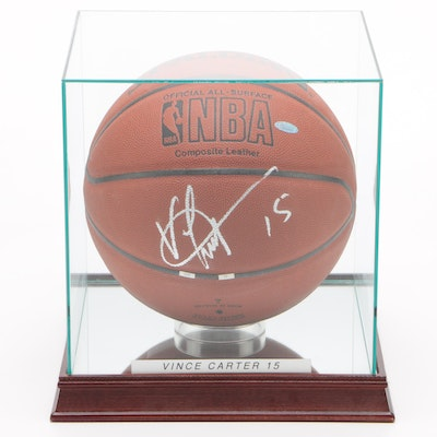 Vince Carter Signed Spalding NBA Basketball in Case, Steiner COA