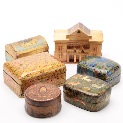 Indian Lacquer Boxes with Giltwood Stamp Box and Other Trinket Boxes