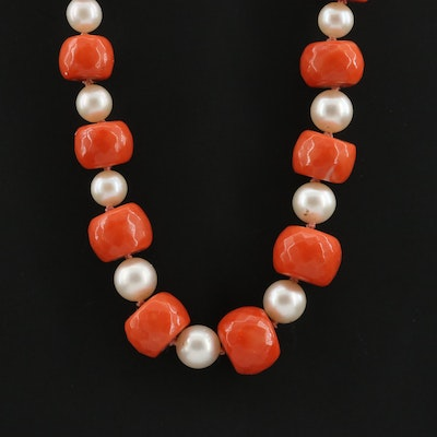 Beaded Coral and Cultured Pearl Necklace with 10K and 14K Yellow Gold