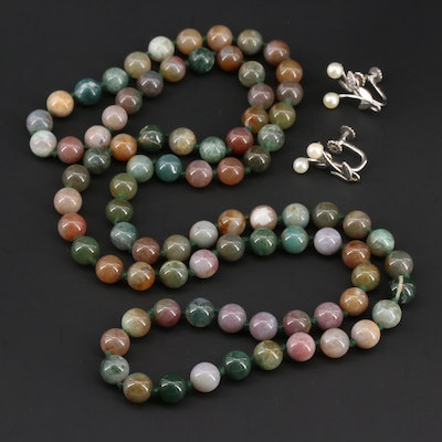Beaded Agate Necklace With Cultured Pearl Earrings