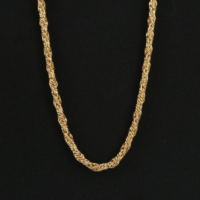 14K Yellow Gold Rope Style Chain Necklace