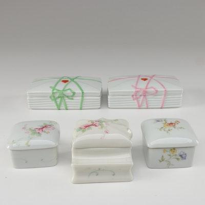 Limoges Porcelain Trinket Boxes and Stamp Holder Including Rochard