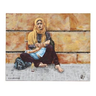 """Zofia Wilamowska Acrylic Painting """"Syrian Pieta,"""" 2017"""