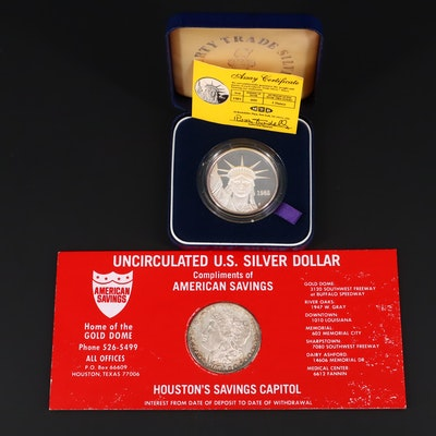 1985 Liberty Trade .999 Silver Round and 1879-S Morgan Silver Dollar
