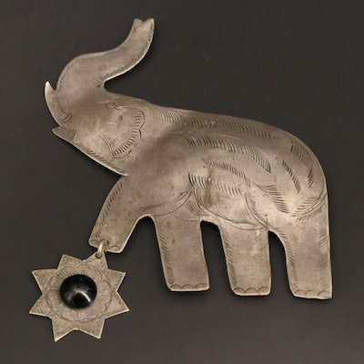 Glass Elephant and Star Brooch