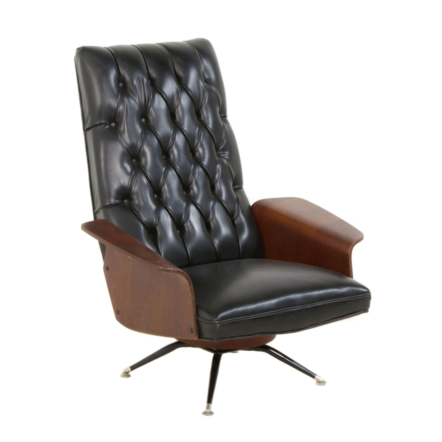 Tufted Vinyl Lounge Chair in the Style of George Mulhauser, Mid-20th Century