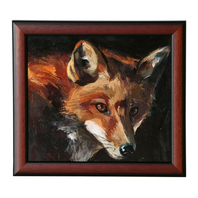 "Adam Deda Oil Painting ""The Hunting Fox"", 2019"