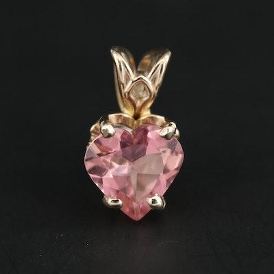 14K Yellow Gold Pink Tourmaline Heart Pendant