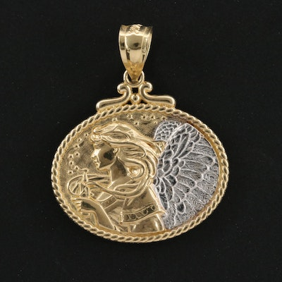 14K Yellow Gold Pendant with White Gold Accents
