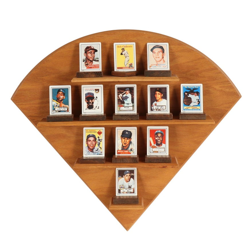 1990 The Hamilton Collection Porcelain Baseball Card Set with Shelving