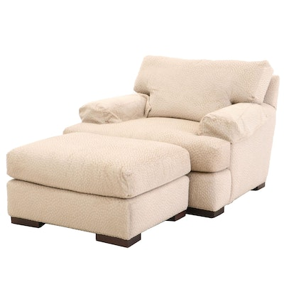 Lee Industries Oversize Upholstered Arm Chair with Ottoman, Contemporary