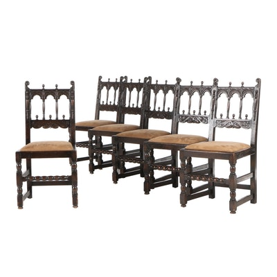 Kensington Mfg. Co., Six Jacobean Style Oak Dining Chairs, Early 20th Century