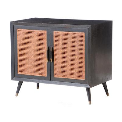 Mid Century Modern Caned Black Cabinet, 1950s