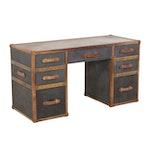 "Restoration Hardware ""Mayfair"" Steamer Trunk Leather and Canvas Desk"