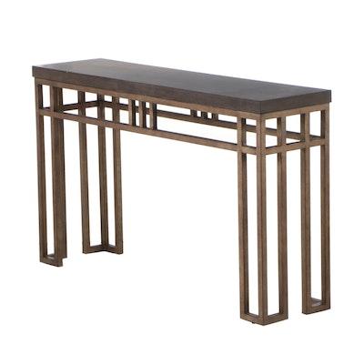 """Lexington """"Montera"""" Travertine Console Table, Contemporary"""