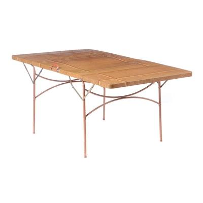 Wood Grained Veneer Metal Portable Folding Table, Mid-20th Century