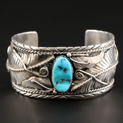 Southwestern Sterling Silver Turquoise Cuff Bracelet