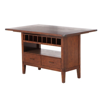 Arts and Crafts Style Oak Counter Height Dining Table, Contemporary