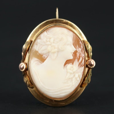 10K Yellow Gold Helmet Shell Cameo Brooch with Rose and Green Gold Accents