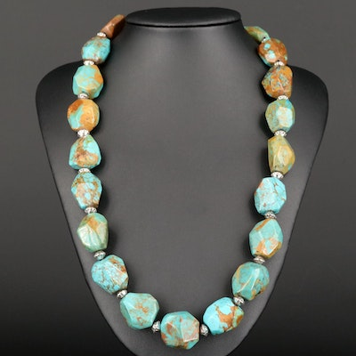 Beaded Turquoise Necklace with Sterling Silver Clasp and Spacer Beads