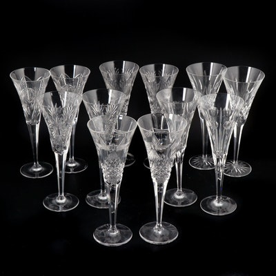 "Waterford Crystal ""Lismore"" and ""Millennium Series"" Fluted Champagne Glasses"