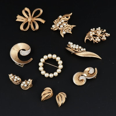 Trifari Jewelry with Crown Trifari Spiral Pavé Earring and Brooch Set