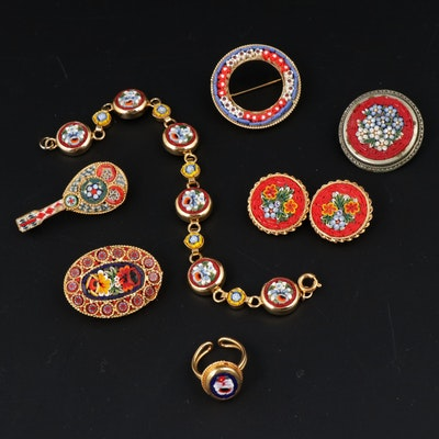 Vintage Italian Micromosaic Floral Jewelry