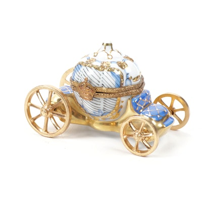 "Rochard ""Blue Cinderella Coach"" Porcelain Limoges Box"